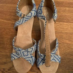 Toms cork wedges beautiful blue straps